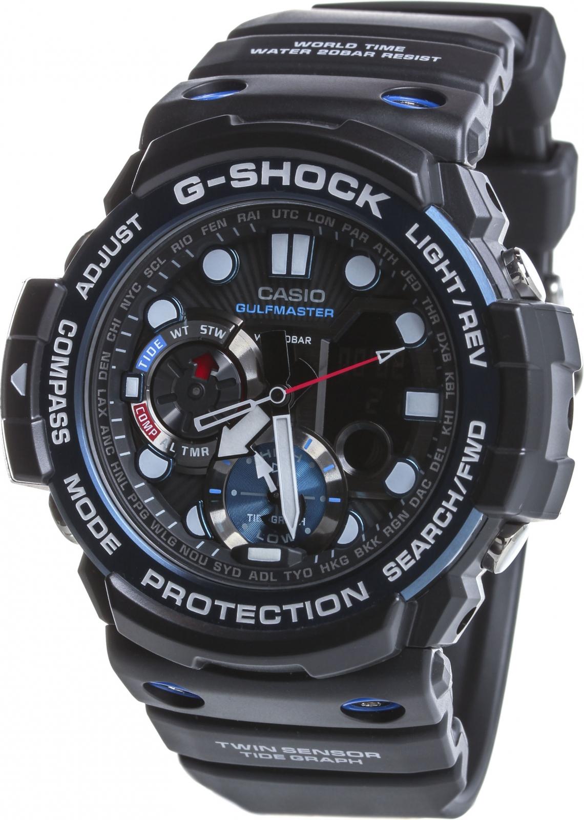Casio G-shock Gulfmaster GN-1000B-1AНаручные часы<br>Японские часы Casio G-shock Gulfmaster GN-1000B-1A<br><br>Пол: Мужские<br>Страна-производитель: Япония<br>Механизм: Кварцевый<br>Материал корпуса: Пластик<br>Материал ремня/браслета: Каучук<br>Водозащита, диапазон: None<br>Стекло: Минеральное<br>Толщина корпуса: 15,9 мм<br>Стиль: None