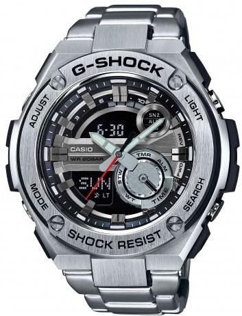 Casio G-shock G-Steel GST-210D-1AНаручные часы<br>Японские часы Casio G-shock G-Steel GST-210D-1A<br><br>Пол: Мужские<br>Страна-производитель: Япония<br>Механизм: Кварцевый<br>Материал корпуса: Сталь+пластик<br>Материал ремня/браслета: Каучук<br>Водозащита, диапазон: None<br>Стекло: Минеральное<br>Толщина корпуса: 16,1 мм<br>Стиль: None