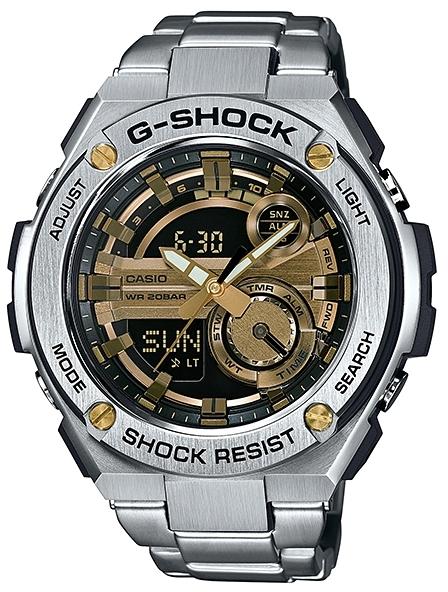 Casio G-shock G-Steel GST-210D-9AНаручные часы<br>Японские часы Casio G-shock G-Steel GST-210D-9A<br><br>Пол: Мужские<br>Страна-производитель: Япония<br>Механизм: Кварцевый<br>Материал корпуса: Сталь+пластик<br>Материал ремня/браслета: Сталь<br>Водозащита, диапазон: None<br>Стекло: Минеральное<br>Толщина корпуса: 16,1 мм<br>Стиль: None
