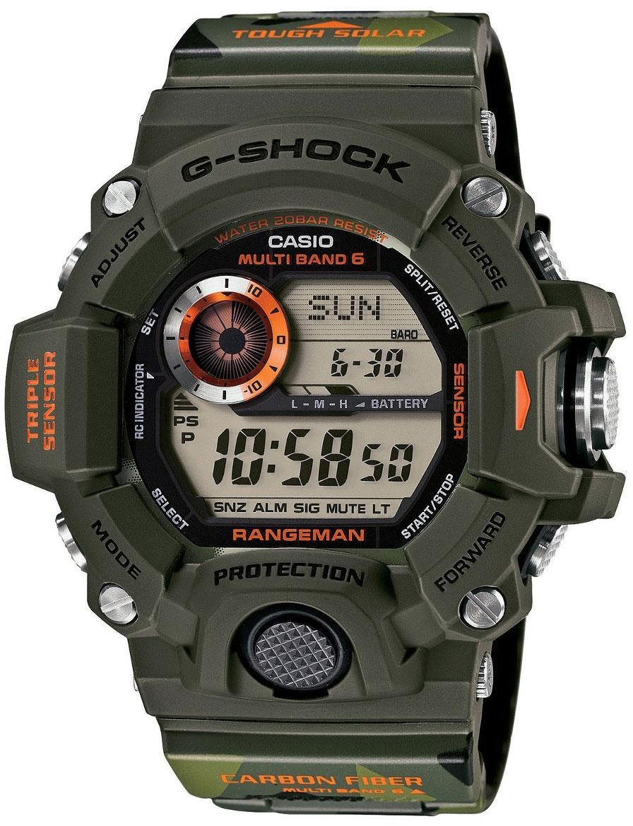 Casio G-shock Rangeman GW-9400CMJ-3EНаручные часы<br>Японские часы Casio G-shock Rangeman GW-9400CMJ-3E<br><br>Пол: Мужские<br>Страна-производитель: Япония<br>Механизм: Кварцевый<br>Материал корпуса: Пластик<br>Материал ремня/браслета: Каучук<br>Водозащита, диапазон: None<br>Стекло: Минеральное<br>Толщина корпуса: 18,2 мм<br>Стиль: None