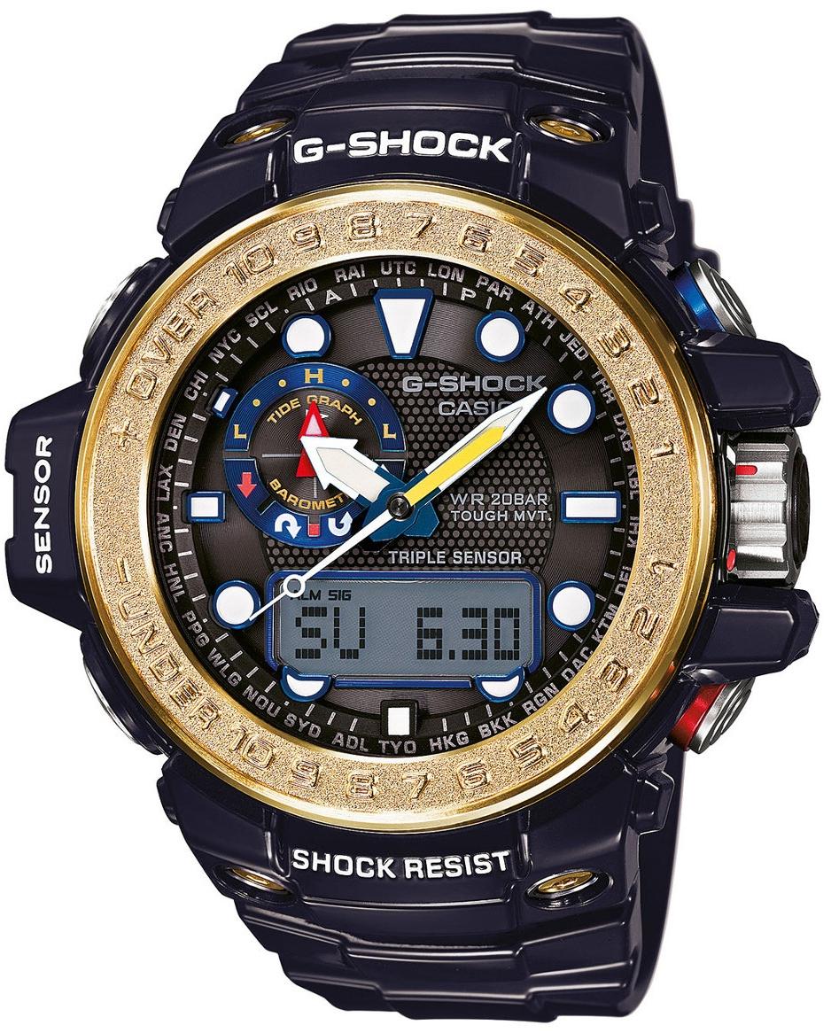 Casio G-shock Gulfmaster GWN-1000F-2AНаручные часы<br>Японские часы Casio G-shock Gulfmaster GWN-1000F-2A<br><br>Пол: Мужские<br>Страна-производитель: Япония<br>Механизм: Кварцевый<br>Материал корпуса: Сталь+пластик<br>Материал ремня/браслета: Каучук<br>Водозащита, диапазон: None<br>Стекло: Минеральное<br>Толщина корпуса: 16,2 мм<br>Стиль: None