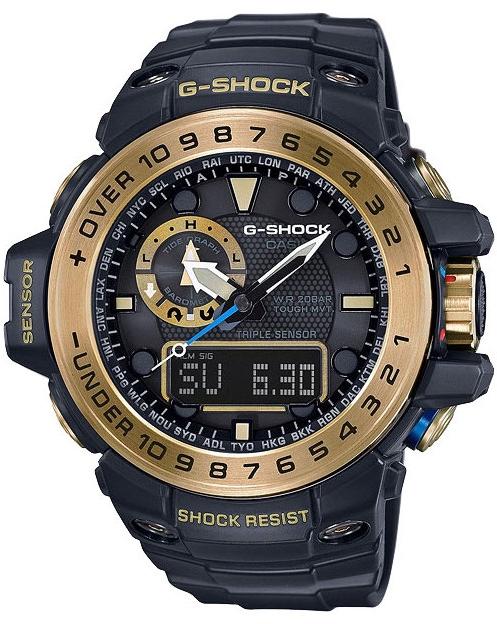 Casio G-shock Gulfmaster GWN-1000GB-1AНаручные часы<br>Японские часы Casio G-shock Gulfmaster GWN-1000GB-1A<br><br>Пол: Мужские<br>Страна-производитель: Япония<br>Механизм: Кварцевый<br>Материал корпуса: Сталь+пластик<br>Материал ремня/браслета: Каучук<br>Водозащита, диапазон: None<br>Стекло: Минеральное<br>Толщина корпуса: 16,2 мм<br>Стиль: None