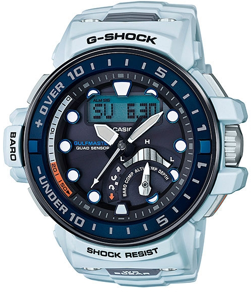 Casio G-shock Gulfmaster GWN-Q1000-7AНаручные часы<br>Японские часы Casio G-shock Gulfmaster GWN-Q1000-7A<br><br>Пол: Мужские<br>Страна-производитель: Япония<br>Механизм: Кварцевый<br>Материал корпуса: Пластик<br>Материал ремня/браслета: Каучук<br>Водозащита, диапазон: None<br>Стекло: Минеральное<br>Толщина корпуса: 17 мм<br>Стиль: None