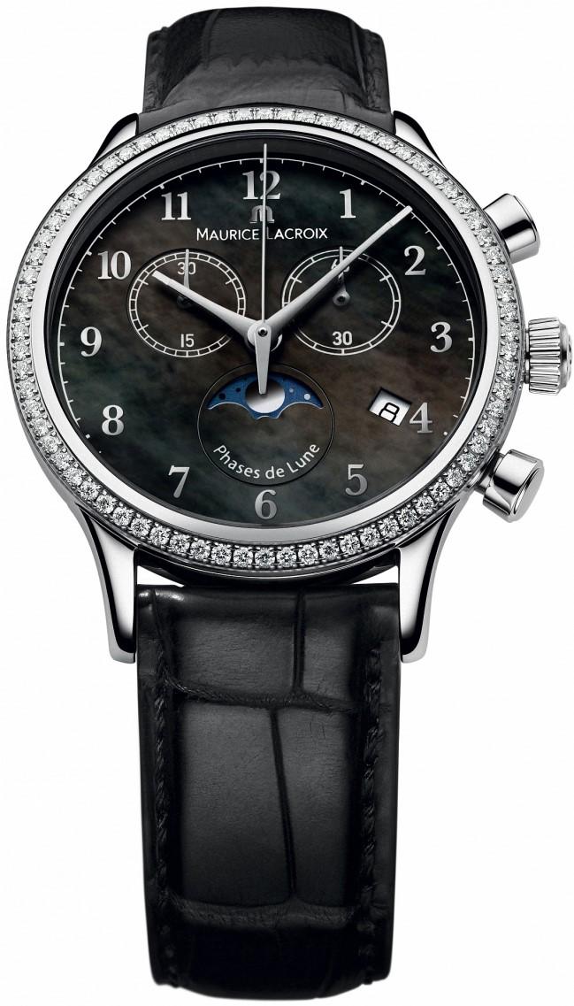 Maurice Lacroix Les Classiques LC1087-SD501-360Наручные часы<br>Швейцарские часы Maurice Lacroix Les Classiques LC1087-SD501-360Данная модель — яркий представитель коллекции Les Classiques. Это Женские часы. Материал корпуса часов — Сталь. Ремень — Кожа. Циферблат часов защищает Сапфировое стекло. Часы этой модели обладают водозащитой 30 м . Основной цвет циферблата Перламутр. Из основных функций на циферблате представлены: часы, минуты, секунды. В данной модели используются следующие усложнения: дата, фаза луны, хронограф. Диаметр корпуса часов составляет 38мм.<br><br>Пол: Женские<br>Страна-производитель: Швейцария<br>Механизм: Кварцевый<br>Материал корпуса: Сталь<br>Материал ремня/браслета: Кожа<br>Водозащита, диапазон: 20 - 100 м<br>Стекло: Сапфировое<br>Толщина корпуса: None<br>Стиль: Классика