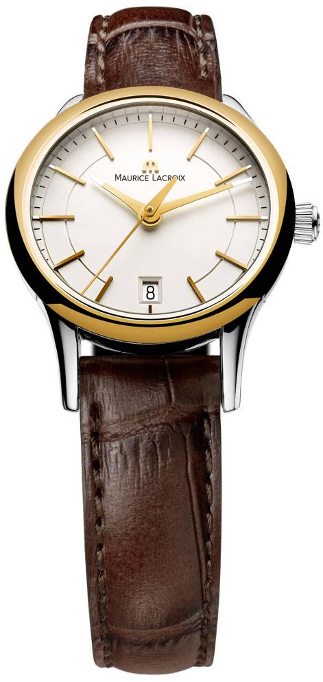 Maurice Lacroix Les Classiques LC1113-PVY11-130Наручные часы<br>Швейцарские часы Maurice Lacroix Les Classiques LC1113-PVY11-130Данная модель входит в коллекцию Les Classiques. Это стильные Женские часы. Материал корпуса часов — Сталь+Золото. Ремень — Кожа. Стекло - Сапфировое. Водозащита - 30 м.<br><br>Для кого?: Женские<br>Страна-производитель: Швейцария<br>Механизм: Кварцевый<br>Материал корпуса: Сталь+Золото<br>Материал ремня/браслета: Кожа<br>Водозащита, диапазон: 20 - 100 м<br>Стекло: Сапфировое<br>Толщина корпуса: None<br>Стиль: None