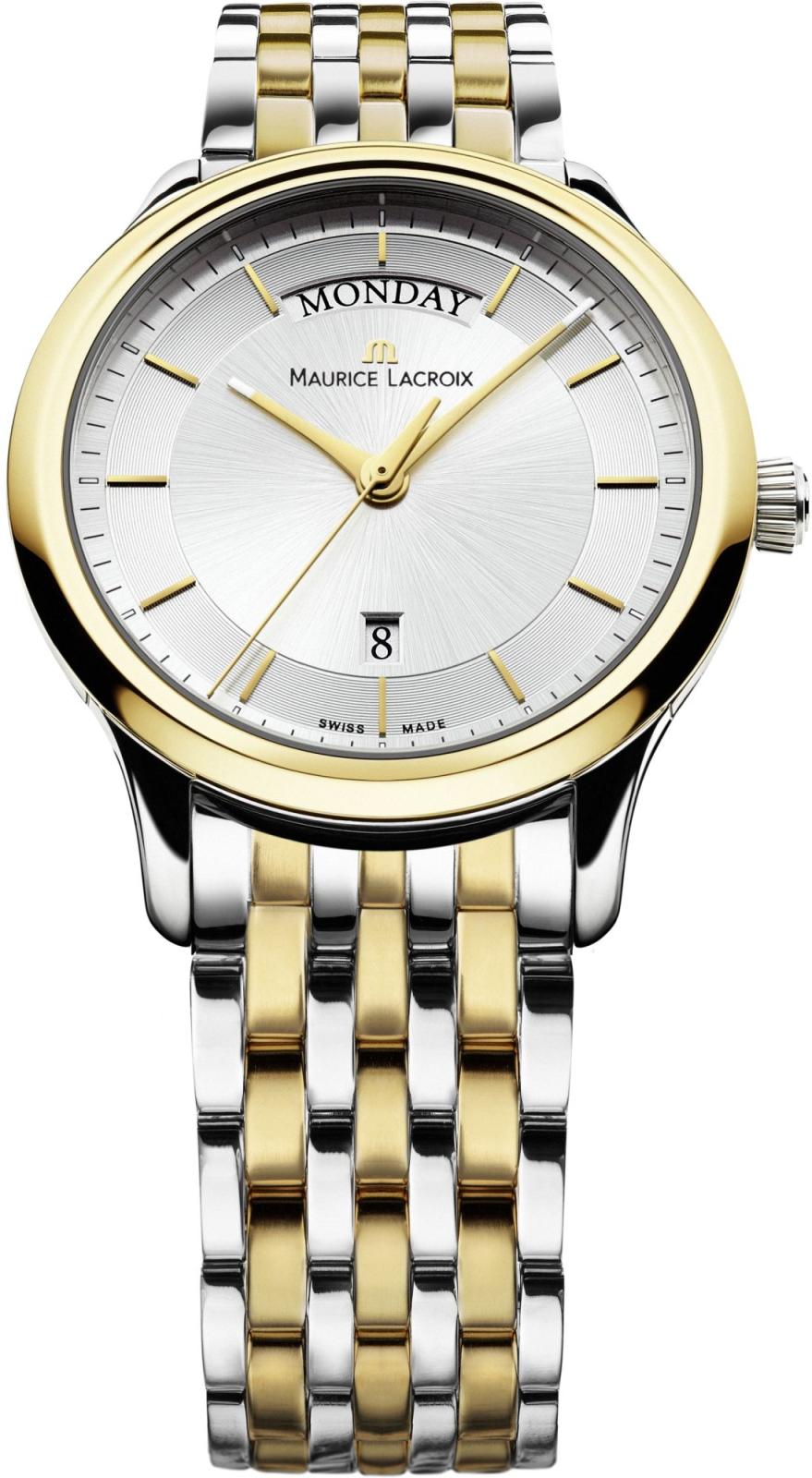 Maurice Lacroix Les Classiques LC1237-PVY13-130Наручные часы<br>Швейцарские часы Maurice Lacroix Les Classiques LC1237-PVY13-130Часы принадежат коллекции Les Classiques. Это настоящие Мужские часы. Материал корпуса часов &amp;mdash; Сталь+Золото. Браслет &amp;mdash; Сталь+Золото. В этих часах используется Сапфировое стекло. Часы выдерживают давление на глубине 30 м . Размер данной модели 38мм.<br><br>Пол: Мужские<br>Страна-производитель: Швейцария<br>Механизм: Кварцевый<br>Материал корпуса: Сталь+Золото<br>Материал ремня/браслета: Сталь+Золото<br>Водозащита, диапазон: 20 - 100 м<br>Стекло: Сапфировое<br>Толщина корпуса: None<br>Стиль: None