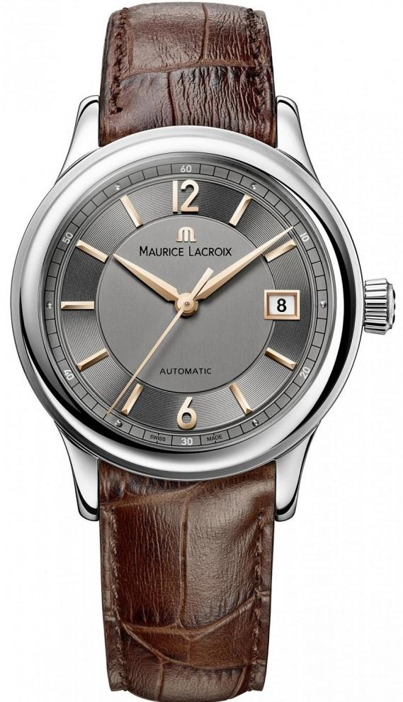 Maurice Lacroix Les Classiques LC6027-SS001-321-2Наручные часы<br>Швейцарские часы Maurice Lacroix Les Classiques LC6027-SS001-321-2Представленная модель входит в коллекцию Les Classiques. Это мужские часы. Материал корпуса часов — сталь. В этой модели стоит сапфировое стекло. Часы этой модели обладают водозащитой 30 м. Циферблат модели содержит часы, секунды. В этой модели используются такие усложнения как дата, . Часы обладают корпусом 38мм.<br><br>Пол: Мужские<br>Страна-производитель: Швейцария<br>Механизм: Механический<br>Материал корпуса: Сталь<br>Материал ремня/браслета: Кожа<br>Водозащита, диапазон: 20 - 100 м<br>Стекло: Сапфировое<br>Толщина корпуса: 10 мм<br>Стиль: Классика