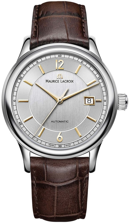 Maurice Lacroix LC6098-SS001-121-2Наручные часы<br>Швейцарские часы Maurice LacroixLes ClassiquesLC6098-SS001-121-2Представленная модель входит в коллекциюLes Classiques. Это мужские часы. Материал корпуса часов — сталь. Циферблат часов защищает сапфировое стекло. Часы этой модели обладают водозащитой 30 м. В этих часах используются такие усложнения как дата. Часы обладают корпусом 40 мм. Механизм ML115 - механический с модулем автоподзавода, 28 800 полуколебаний/час, запас хода 38 часов.<br><br>Для кого?: Мужские<br>Страна-производитель: Швейцария<br>Механизм: Механический<br>Материал корпуса: Сталь<br>Материал ремня/браслета: Кожа<br>Водозащита, диапазон: 20 - 100 м<br>Стекло: Сапфировое<br>Толщина корпуса: None<br>Стиль: Классика