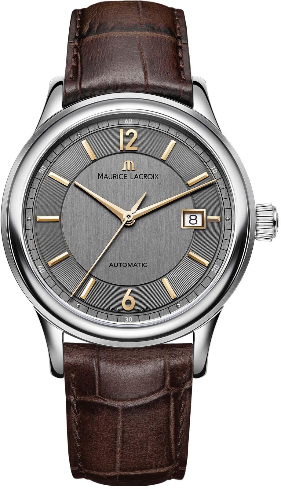 Maurice Lacroix LC6098-SS001-320-2Наручные часы<br>Швейцарские часы Maurice LacroixLes ClassiquesLC6098-SS001-320-2Представленная модель входит в коллекциюLes Classiques. Это мужские часы. Материал корпуса часов — сталь. Циферблат часов защищает сапфировое стекло. Часы этой модели обладают водозащитой 30 м. В этих часах используются такие усложнения как дата. Часы обладают корпусом 40 мм. Механизм ML115 - механический с модулем автоподзавода, 28 800 полуколебаний/час, запас хода 38 часов.<br><br>Для кого?: Мужские<br>Страна-производитель: Швейцария<br>Механизм: Механический<br>Материал корпуса: Сталь<br>Материал ремня/браслета: Кожа<br>Водозащита, диапазон: 20 - 100 м<br>Стекло: Сапфировое<br>Толщина корпуса: None<br>Стиль: Классика