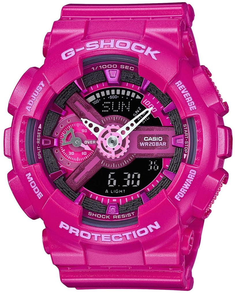 Casio G-shock S Series GMA-S110MP-4A3Наручные часы<br>Японские часы Casio G-shock S Series GMA-S110MP-4A3<br><br>Пол: Женские<br>Страна-производитель: Япония<br>Механизм: Кварцевый<br>Материал корпуса: Пластик<br>Материал ремня/браслета: Каучук<br>Водозащита, диапазон: None<br>Стекло: Минеральное<br>Толщина корпуса: 15,8 мм<br>Стиль: None