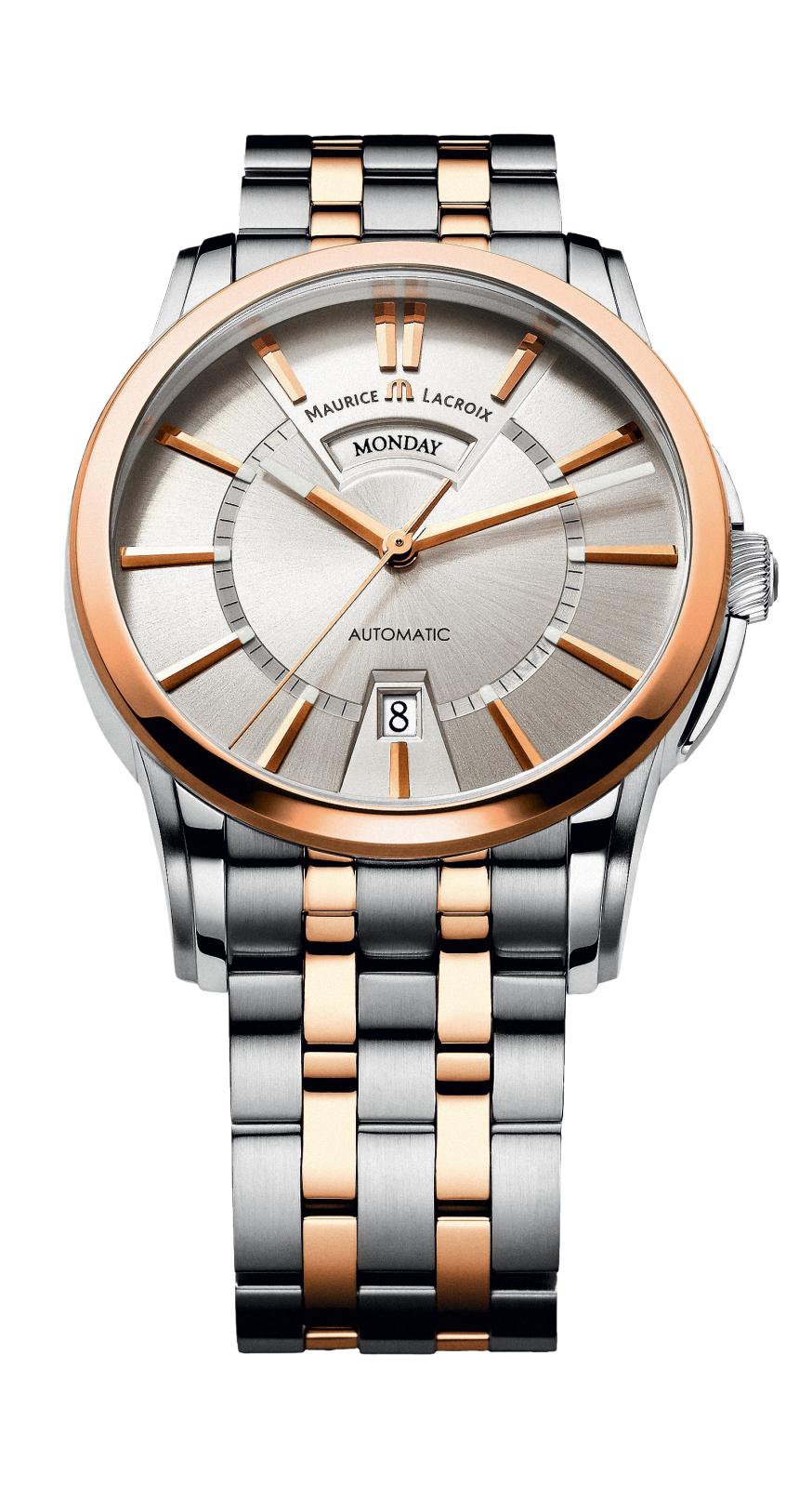 Maurice Lacroix PT6158-PS103-13E-1Наручные часы<br>Швейцарские часы Maurice LacroixPontos Day/DatePT6158-PS103-13E-1Представленная модель входит в коллекцию Pontos Day/Date. Это мужские часы. Материал корпуса часов — сталь, вставки с золотым PVD покрытием. Циферблат часов защищает сапфировое стекло. Часы этой модели обладают водозащитой 50 м. В этих часах используются такие усложнения дата и день недели. Часы обладают корпусом 40 мм.<br><br>Пол: Мужские<br>Страна-производитель: Швейцария<br>Механизм: Механический<br>Материал корпуса: Сталь<br>Материал ремня/браслета: Сталь<br>Водозащита, диапазон: 20 - 100 м<br>Стекло: Сапфировое<br>Толщина корпуса: None<br>Стиль: Классика