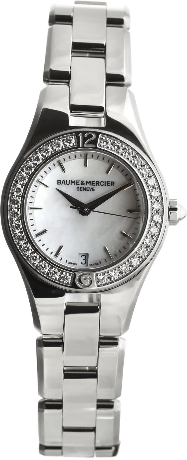 Baume&amp;Mercier Linea MOA10013Наручные часы<br>Швейцарские часы Baume&amp;amp;Mercier Linea MOA10013Представленная модель входит в коллекцию Linea. Это модные Женские часы. Материал корпуса часов &amp;mdash; Сталь. Браслет &amp;mdash; Сталь. Циферблат часов защищает Сапфировое стекло. Часы выдерживают давление на глубине 50 м. Цвет циферблата - Белый. Размер данной модели 27мм. Блеск модели придаёт наличие бриллиантов.<br><br>Пол: Женские<br>Страна-производитель: Швейцария<br>Механизм: Кварцевый<br>Материал корпуса: Сталь<br>Материал ремня/браслета: Сталь<br>Водозащита, диапазон: 20 - 100 м<br>Стекло: Сапфировое<br>Толщина корпуса: None<br>Стиль: Классика