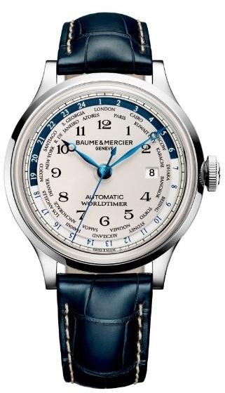 Baume&amp;Mercier Capeland MOA10106Наручные часы<br>Швейцарские часы Baume&amp;amp;Mercier Capeland MOA10106Модель входит в коллекцию Capeland. Это Мужские часы. Материал корпуса часов &amp;mdash; Сталь. Ремень &amp;mdash; Кожа. В этих часах используется Сапфировое стекло. Часы этой модели обладают водозащитой 50 м. Цвет циферблата - Белый. Циферблат содержит часы, минуты, секунды. В этой модели используются такие усложнения как дата, второе поясное время, . Диаметр корпуса 44мм.<br><br>Пол: Мужские<br>Страна-производитель: Швейцария<br>Механизм: Механический<br>Материал корпуса: Сталь<br>Материал ремня/браслета: Кожа<br>Водозащита, диапазон: 20 - 100 м<br>Стекло: Сапфировое<br>Толщина корпуса: None<br>Стиль: None
