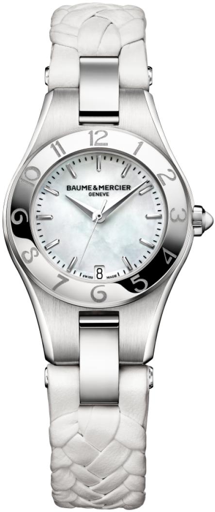 Baume&amp;Mercier Linea MOA10117Наручные часы<br>Швейцарские часы Baume&amp;amp;Mercier Linea MOA10117Данная модель входит в коллекцию Linea. Это модные Женские часы. Материал корпуса часов &amp;mdash; Сталь. Ремень &amp;mdash; Кожа. В этих часах используется Сапфировое стекло. Часы выдерживают давление на глубине 50 м. Цвет циферблата - Перламутр. Из основных функций на циферблате представлены: часы, минуты, секунды. В этой модели используются такие усложнения как дата, . Диаметр корпуса часов составляет 27мм.<br><br>Пол: Женские<br>Страна-производитель: Швейцария<br>Механизм: Кварцевый<br>Материал корпуса: Сталь<br>Материал ремня/браслета: Кожа<br>Водозащита, диапазон: 20 - 100 м<br>Стекло: Сапфировое<br>Толщина корпуса: None<br>Стиль: Классика