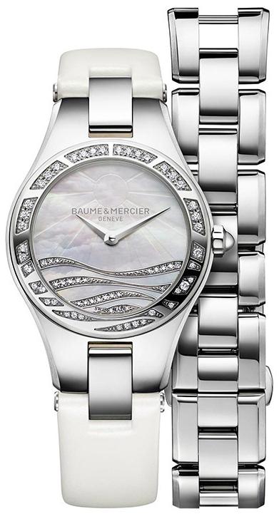 Baume&amp;Mercier Linea MOA10118Наручные часы<br>Швейцарские часы Baume&amp;Mercier Linea MOA10118<br><br>Для кого?: Женские<br>Страна-производитель: Швейцария<br>Механизм: Кварцевый<br>Материал корпуса: Сталь<br>Материал ремня/браслета: Текстиль<br>Водозащита, диапазон: 20 - 100 м<br>Стекло: Сапфировое<br>Толщина корпуса: None<br>Стиль: Классика