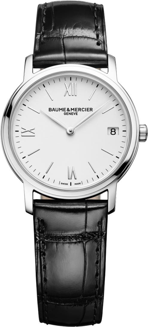 Baume&amp;Mercier Classima Executives MOA10148Наручные часы<br>Швейцарские часы Baume&amp;Mercier Classima Executives MOA10148Часы входят в модельный ряд коллекции Classima Executives. Это Женские часы. Материал корпуса часов — Сталь. Ремень — Кожа. Циферблат часов защищает Сапфировое стекло. Водозащита этой модели 30 м. Основной цвет циферблата Белый. Циферблат модели содержит часы, минуты, секунды. В этой модели используются такие усложнения как дата, . Размер данной модели 33мм.<br><br>Для кого?: Женские<br>Страна-производитель: None<br>Механизм: Механический<br>Материал корпуса: Сталь<br>Материал ремня/браслета: Кожа<br>Водозащита, диапазон: None<br>Стекло: Сапфировое<br>Толщина корпуса: None<br>Стиль: Классика