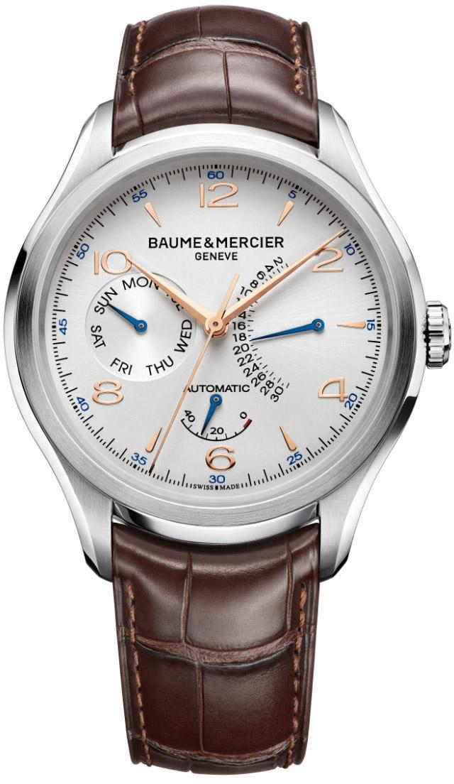 Baume&amp;Mercier Clifton MOA10149Наручные часы<br>Швейцарские часы Baume&amp;Mercier CliftonMOA10149Модель входит в коллекцию Clifton. Это великолепные мужские часы. Материал корпуса часов — сталь. Ремень — кожа аллигатора. Циферблат часов серебристого цветазащищает сапфировое стекло. Водозащита - 50 м. Циферблат модели содержит часы, минуты, секунды. В этой модели используются такие усложнения как индикация даты, дня недели, а также индикатор запаса хода. Корпус часов в диаметре 43мм.<br><br>Пол: Мужские<br>Страна-производитель: None<br>Механизм: Механический<br>Материал корпуса: Сталь<br>Материал ремня/браслета: Кожа<br>Водозащита, диапазон: None<br>Стекло: Сапфировое<br>Толщина корпуса: None<br>Стиль: Классика