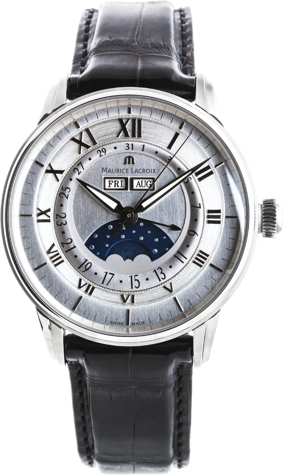 Maurice Lacroix Masterpiece MP6428-SS001-11EНаручные часы<br>Швейцарские часы Maurice Lacroix Masterpiece MP6428-SS001-11EПредставленная модель входит в коллекцию Masterpiece. Это настоящие Мужские часы. Материал корпуса часов &amp;mdash; Сталь. Ремень &amp;mdash; Кожа. В этих часах используется Сапфировое стекло. Водозащита - 50 м. Основной цвет циферблата Серый.<br><br>Пол: Мужские<br>Страна-производитель: Швейцария<br>Механизм: Механический<br>Материал корпуса: Сталь<br>Материал ремня/браслета: Кожа<br>Водозащита, диапазон: 20 - 100 м<br>Стекло: Сапфировое<br>Толщина корпуса: None<br>Стиль: Классика