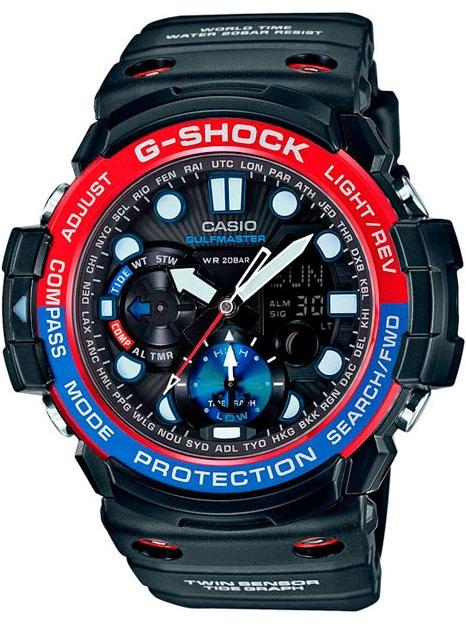 Casio G-shock Gulfmaster GN-1000-1AНаручные часы<br>Японские часы Casio G-shock Gulfmaster GN-1000-1A<br><br>Пол: Мужские<br>Страна-производитель: Япония<br>Механизм: Кварцевый<br>Материал корпуса: Сталь+пластик<br>Материал ремня/браслета: Каучук<br>Водозащита, диапазон: None<br>Стекло: Минеральное<br>Толщина корпуса: 15,9 мм<br>Стиль: None