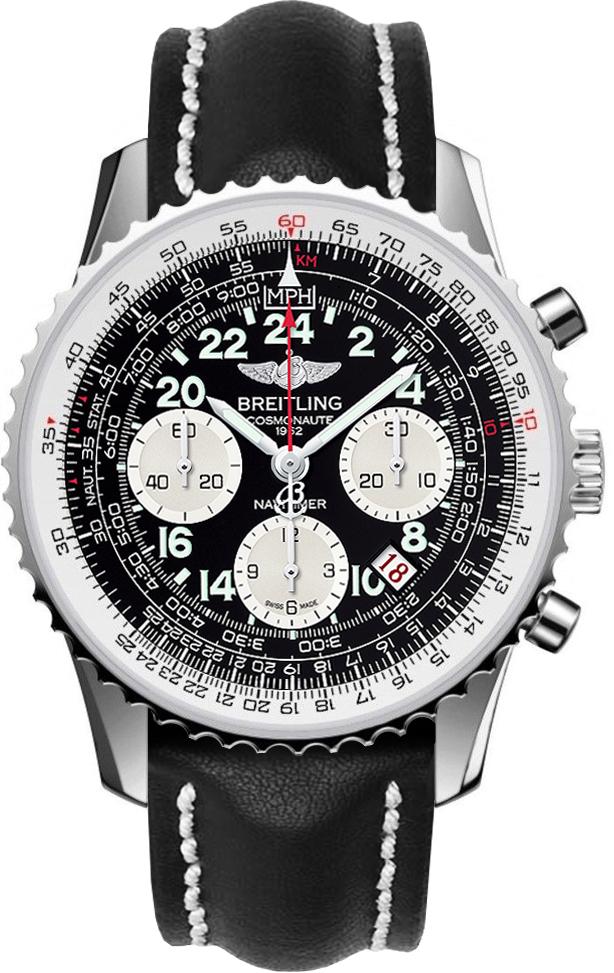 Breitling Navitimer Cosmonaute  AB021012/BB59/435XНаручные часы<br>Швейцарские часы Breitling Navitimer Cosmonaute AB021012/BB59/435X24 мая 1962 года Скотт Карпентер в корабле «Аврора 7» сделал три витка вокруг Земли. На запястье у него были часы Navitimer с 24-часовым циферблатом – жизненная необходимость, когда вам требуется отличать день от ночи. Так они стали первым наручным хронографом, побывавшим в космосе. Часы входят в коллекциюNavitimer Cosmonaute - единственные в своем роде, модель распознаётся сразу же благодаря вращающемуся в двух направлениях безелю с храповым механизмом, который даёт возможность легко воспользоваться знаменитой круглой логарифмической линейкой для авиаторов. Механизм - Breitling B02 - второй из семейства мануфактурных (собственного производства) механизмов компании Breitling, ручной подзавод и 24-часовая индикация времени – два знака уважения к оригинальному хронографу 1962 года, 28800 полуколебаний/час, 39 камней, сертифицированный хронометр C.O.S.C., быстрая корректировка даты, запас хода до 70 часов. Сапфировое стекло с двойным антибликовым покрытием. Водозащита - 30 м. Ремень - кожа теленка. Диаметр корпуса 43 мм.<br><br>Для кого?: Мужские<br>Страна-производитель: Швейцария<br>Механизм: Механический<br>Материал корпуса: Сталь<br>Материал ремня/браслета: Кожа<br>Водозащита, диапазон: 20 - 100 м<br>Стекло: Сапфировое<br>Толщина корпуса: 13,85 мм<br>Стиль: Классика