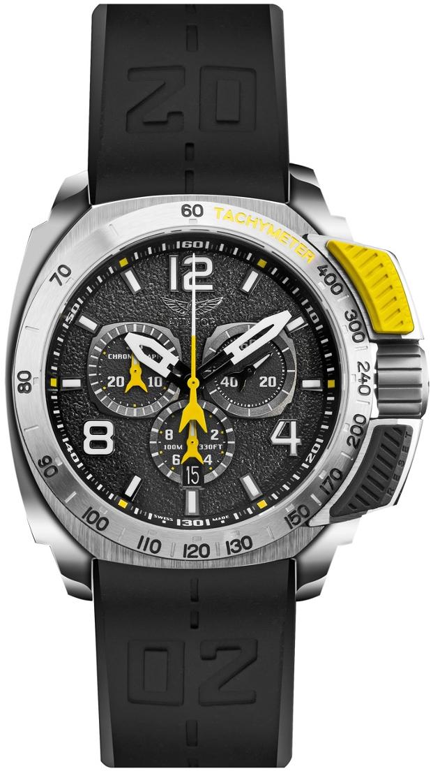 Aviator Professional P.2.15.0.088.6Наручные часы<br>Швейцарские часы Aviator Professional P.2.15.0.088.6Данная модель — яркий представитель коллекции Profession. Это Мужские часы. Материал корпуса часов — Сталь. Ремень — Каучук. В этой модели стоит Сапфировое стекло. Водозащита этих часов 100 м . Основной цвет циферблата Черный. Циферблат содержит часы, минуты, секунды. В этих часах используются такие усложнения как дата, хронограф. Часы обладают корпусом 45 мм.<br><br>Пол: Мужские<br>Страна-производитель: Швейцария<br>Механизм: Кварцевый<br>Материал корпуса: Сталь<br>Материал ремня/браслета: Каучук<br>Водозащита, диапазон: 100 - 150 м<br>Стекло: Сапфировое<br>Толщина корпуса: None<br>Стиль: Спорт