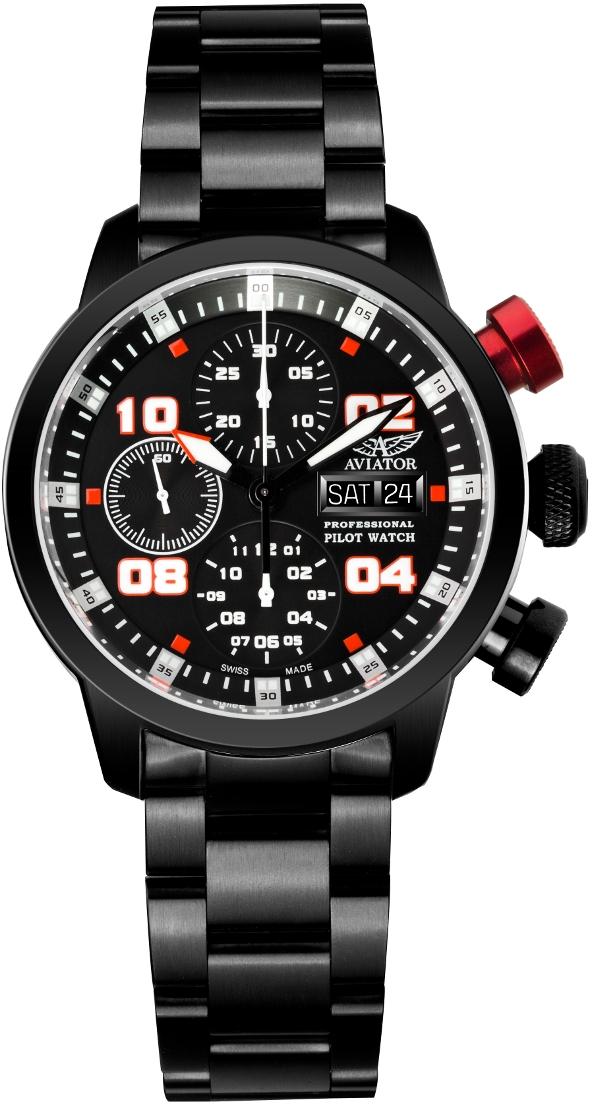 Aviator Professional P.4.06.5.017Наручные часы<br>Швейцарские часы Aviator Professional P.4.06.5.017Часы принадежат коллекции Professional. Это Мужские часы. Материал корпуса часов — Сталь. Ремень — Сталь. В этих часах используется Сапфировое стекло. Часы этой модели обладают водозащитой 50 м. Основной цвет циферблата Черный. Циферблат содержит часы, минуты, секунды. В этой модели используются такие усложнения как дата, день недели, хронограф. Часы обладают корпусом 42мм.<br><br>Пол: Мужские<br>Страна-производитель: Швейцария<br>Механизм: Механический<br>Материал корпуса: Сталь<br>Материал ремня/браслета: Сталь<br>Водозащита, диапазон: 20 - 100 м<br>Стекло: Сапфировое<br>Толщина корпуса: None<br>Стиль: Спорт
