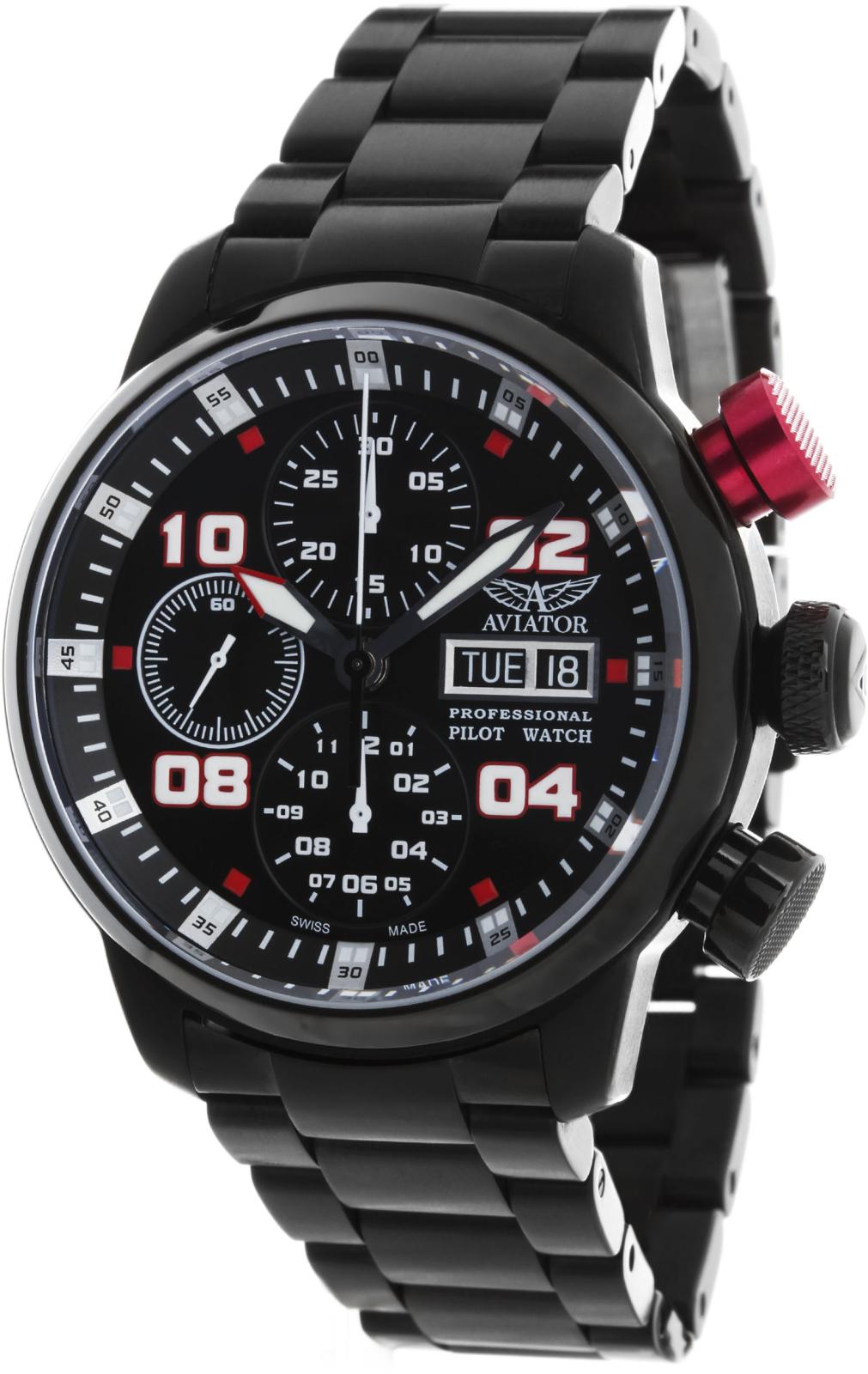 Aviator Professional P.4.06.5.017  Наручные часы<br>Швейцарские часы Aviator Professional P.4.06.5.017Часы принадежат коллекции Professional. Это Мужские часы. Материал корпуса часов — Сталь. Ремень — Сталь. В этих часах используется Сапфировое стекло. Часы этой модели обладают водозащитой 50 м. Основной цвет циферблата Черный. Циферблат содержит часы, минуты, секунды. В этой модели используются такие усложнения как дата, день недели, хронограф. Часы обладают корпусом 42мм.<br><br>Для кого?: Мужские<br>Страна-производитель: Швейцария<br>Механизм: Механический<br>Материал корпуса: Сталь<br>Материал ремня/браслета: Сталь<br>Водозащита, диапазон: 20 - 100 м<br>Стекло: Сапфировое<br>Толщина корпуса/: <br>Стиль: Спорт