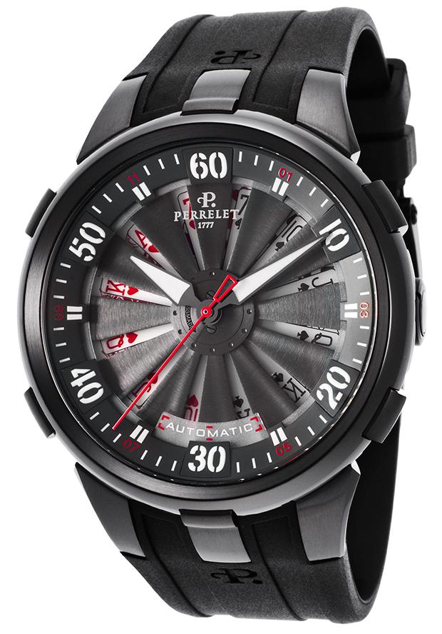 Perrelet Double Rotor A4052/1Наручные часы<br>Швейцарские часы Perrelet TURBINE XL VEGASA4052/1Коллекционная модель - лимитированная серия Poker из коллекции TURBINE XL VEGAS - всего выпушенно 250 экземпляров.Циферблат с изображением карточной пары семерок и двух квинт флеш-рояль. Вдохновленные эстетикой аэронавтики, в 2009 году инженеры и дизайнеры PERRELET создают новую модификацию запатентованной технологии двойного ротора - турбину с 12 алюминиевыми лопастамя, покрывающими весь циферблат и скользящими под внутренним безелем. Расположенные на нижнем циферблате полосы усиливают потрясающий эффект. Турбина не связана с инерционным грузом, благодаря чему развивается удивительная скорость вращения. Данная модель входит в коллекциюTURBINE XL. Это модные спортивные мужские часы. Корпус часов вогнутой формы - сталь с черным PVD покрытием, интегрированная заводная головка.Механизм - P 331 - механика с автоподзаводом, 28800 полуколебаний/час, 25 камней, запас хода 42 часа.Циферблат защищает сапфировое стекло с двусторонним антибликовым покрытием. Водозащита - 50 м.Ремень - черный каучук. Диаметр корпуса - 48 мм.<br><br>Для кого?: Мужские<br>Страна-производитель: Швейцария<br>Механизм: Механический<br>Материал корпуса: Сталь<br>Материал ремня/браслета: Каучук<br>Водозащита, диапазон: 20 - 100 м<br>Стекло: Сапфировое<br>Толщина корпуса: 14,30 мм<br>Стиль: Спорт