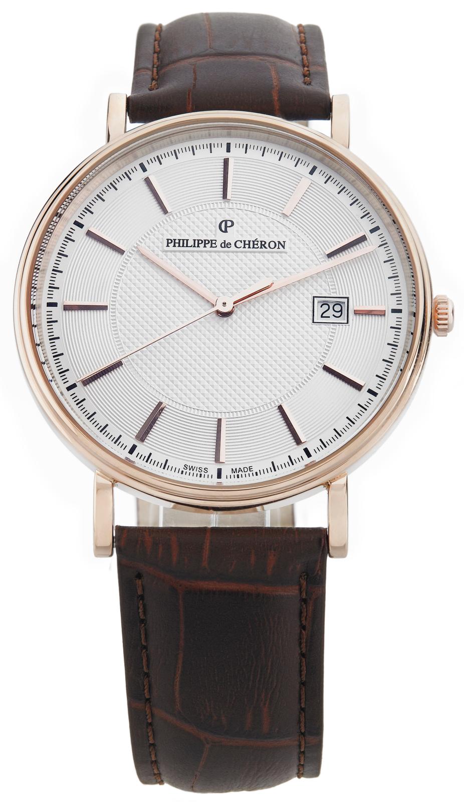 Philippe de Cheron Crusader 1004.1262NНаручные часы<br>Швейцарские часы Philippe de Cheron Crusader 1004.1262N<br><br>Для кого?: Мужские<br>Страна-производитель: Швейцария<br>Механизм: Кварцевый<br>Материал корпуса: Золото 14К<br>Материал ремня/браслета: Кожа<br>Водозащита, диапазон: 20 - 100 м<br>Стекло: Сапфировое<br>Толщина корпуса: 5.5 мм<br>Стиль: Классика