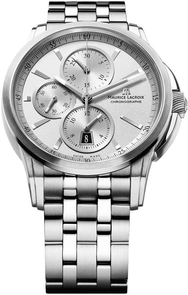 Maurice Lacroix Pontos PT6188-SS002-130Наручные часы<br>Швейцарские часы Maurice Lacroix Pontos PT6188-SS002-130Данная модель входит в коллекцию Pontos. Это настоящие Мужские часы. Материал корпуса часов — Сталь. Браслет — Сталь. В этой модели стоит Сапфировое стекло. Водозащита этих часов 50 м. Цвет циферблата - Белый. Диаметр корпуса данной модели 43мм.<br><br>Пол: Мужские<br>Страна-производитель: Швейцария<br>Механизм: Механический<br>Материал корпуса: Сталь<br>Материал ремня/браслета: Сталь<br>Водозащита, диапазон: 20 - 100 м<br>Стекло: Сапфировое<br>Толщина корпуса: None<br>Стиль: Классика