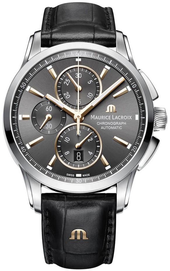 Maurice Lacroix Pontos PT6388-SS001-331-1Наручные часы<br>Швейцарские часы Maurice Lacroix Pontos PT6388-SS001-331-1<br><br>Пол: Мужские<br>Страна-производитель: Швейцария<br>Механизм: Механический<br>Материал корпуса: Сталь<br>Материал ремня/браслета: Кожа<br>Водозащита, диапазон: None<br>Стекло: Сапфировое<br>Толщина корпуса: None<br>Стиль: None