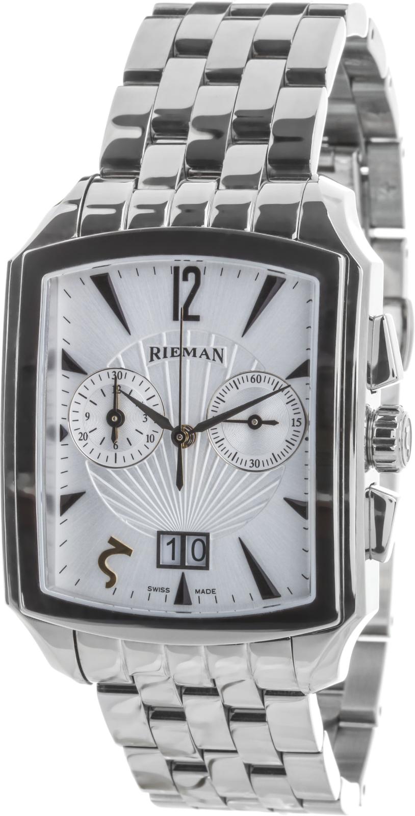 Rieman Chrono Integrale R1940.216.012Наручные часы<br>Швейцарские часы Rieman Chrono Integrale R1940.216.012Часы входят в модельный ряд коллекции Chrono Integrale. Это великолепные мужские часы. Материал корпуса часов — сталь. Циферблат часов защищает сапфировое стекло. Водозащита этих часов 30 м. Цвет циферблата - белый. Циферблат модели содержит часы, минуты, секунды. В данной модели используются следующие усложнения: дата, . Диаметр корпуса часов составляет 35х49.5мм.<br><br>Для кого?: Мужские<br>Страна-производитель: Швейцария<br>Механизм: Кварцевый<br>Материал корпуса: Сталь<br>Материал ремня/браслета: Сталь<br>Водозащита, диапазон: 20 - 100 м<br>Стекло: Сапфировое<br>Толщина корпуса/: <br>Стиль: Классика
