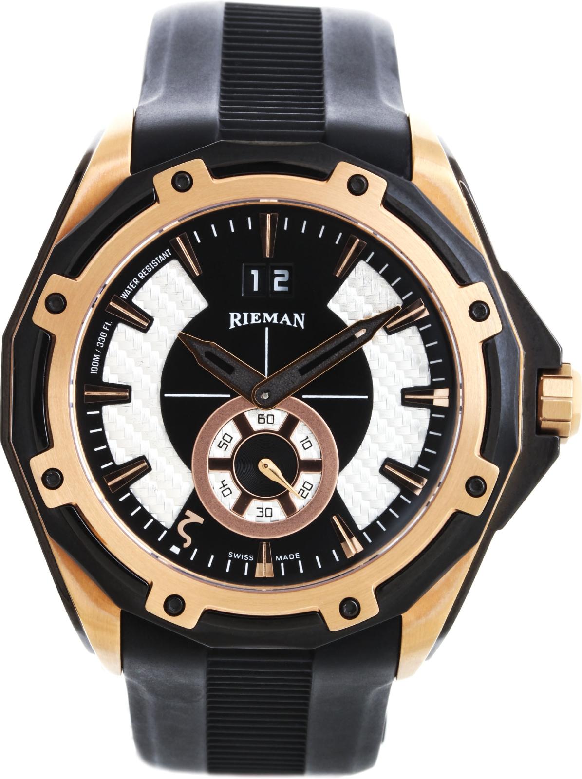 Rieman OutSpace R4128.104.516Наручные часы<br>Швейцарские часы Rieman OutSpace R4128.104.516Данная модель — яркий представитель коллекции OutSpace. Это мужские часы. Материал корпуса часов — сталь+золото. Стекло - сапфировое. Часы выдерживают давление на глубине 100 м. Цвет циферблата - белый с черным. Из основных функций на циферблате представлены:  часы, минуты, секунды. В этой модели используются такие усложнения как дата, . Часы обладают корпусом 45,5мм.<br><br>Пол: Мужские<br>Страна-производитель: Швейцария<br>Механизм: Кварцевый<br>Материал корпуса: Сталь+Золото<br>Материал ремня/браслета: Каучук<br>Водозащита, диапазон: 100 - 150 м<br>Стекло: Сапфировое<br>Толщина корпуса: None<br>Стиль: Спорт