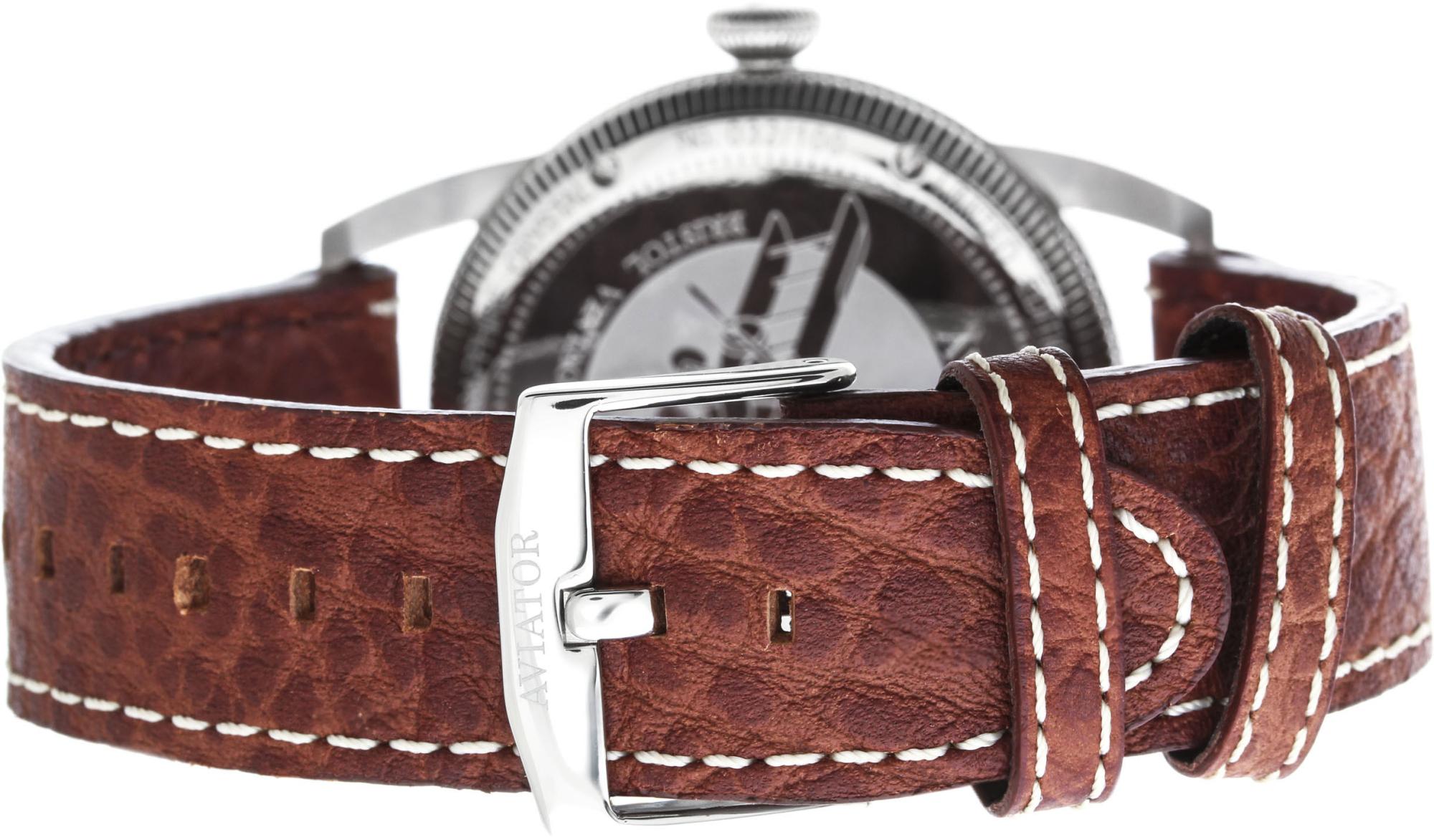Aviator Bristol V.3.07.0.081.4Наручные часы<br>Швейцарские часы Aviator Bristol V.3.07.0.081.4Представленная модель входит в коллекцию Bristol. Это великолепные мужские часы. Материал корпуса часов — Сталь. Ремень — Кожа. В этой модели стоит Сапфировое стекло. Водозащита - 50 м.<br><br>Пол: мужские<br>Страна-производитель: Швейцария<br>Механизм: Механический<br>Материал корпуса: Сталь<br>Материал ремня/браслета: Кожа<br>Водозащита, диапазон: 20 - 100 м<br>Стекло: Сапфировое<br>Толщина корпуса: None<br>Стиль: None