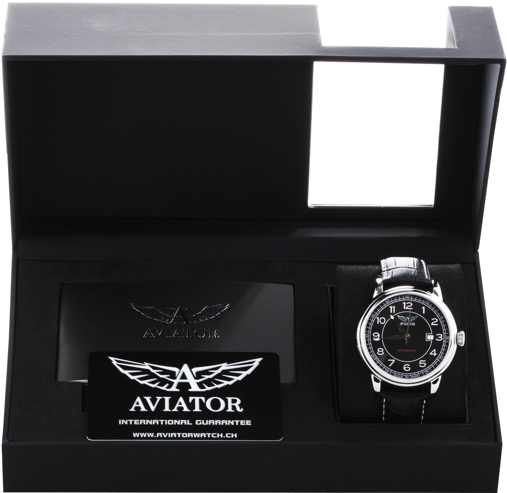 Aviator Douglas V.3.09.0.107.4Наручные часы<br>Швейцарские часы Aviator Douglas V.3.09.0.107.4<br><br>Пол: Мужские<br>Страна-производитель: Швейцария<br>Механизм: Механический<br>Материал корпуса: Сталь<br>Материал ремня/браслета: Кожа<br>Водозащита, диапазон: 20 - 100 м<br>Стекло: Сапфировое<br>Толщина корпуса: 12 мм<br>Стиль: Классика