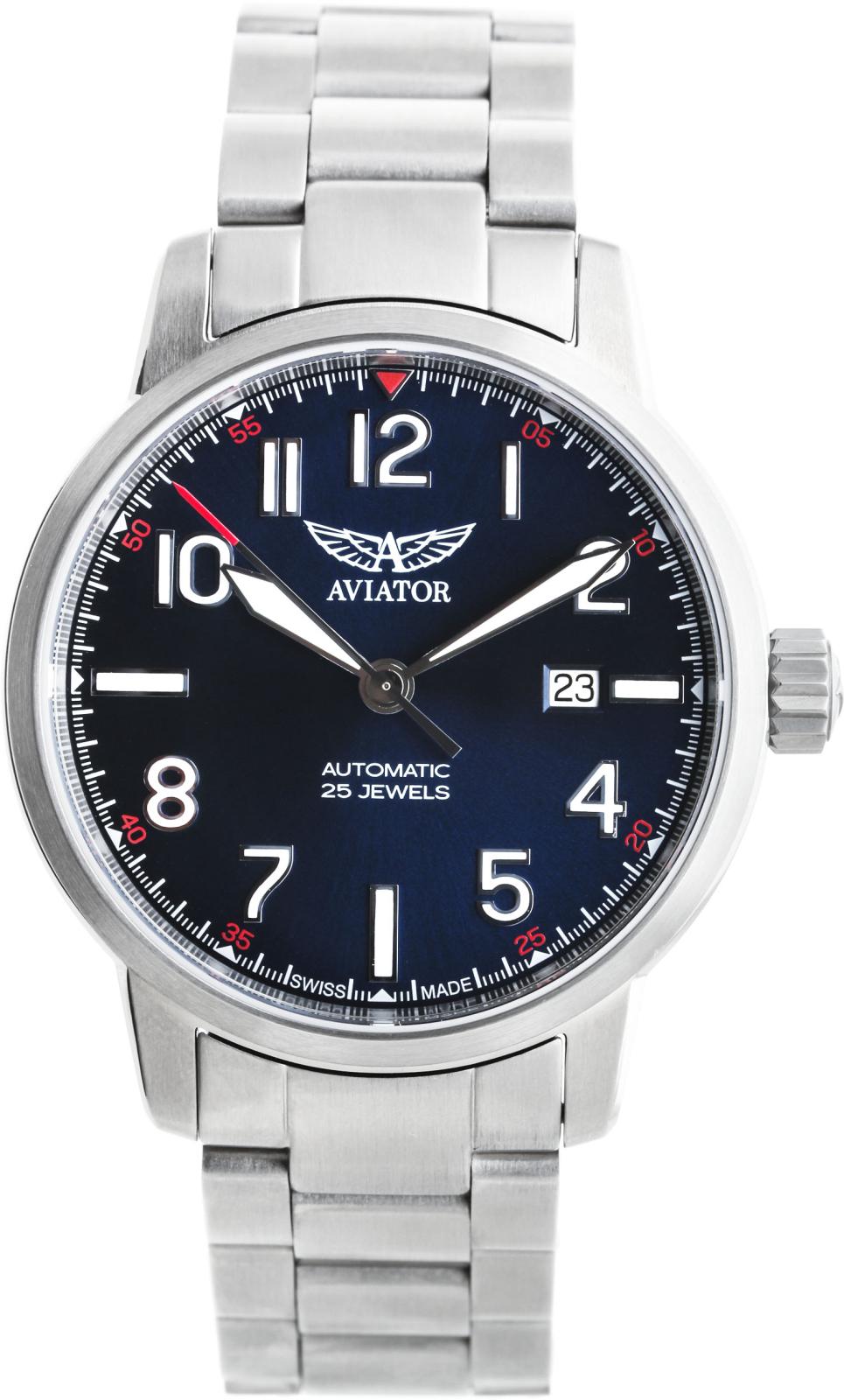Aviator V.3.21.0.138.5   Наручные часы<br>Швейцарские часы Aviator Airacobra Auto V.3.21.0.138.5<br><br>Для кого?: Мужские<br>Страна-производитель: Швейцария<br>Механизм: Механический<br>Материал корпуса: Сталь<br>Материал ремня/браслета: Сталь<br>Водозащита, диапазон: 20 - 100 м<br>Стекло: Сапфировое<br>Толщина корпуса: 11,4 мм<br>Стиль: Классика