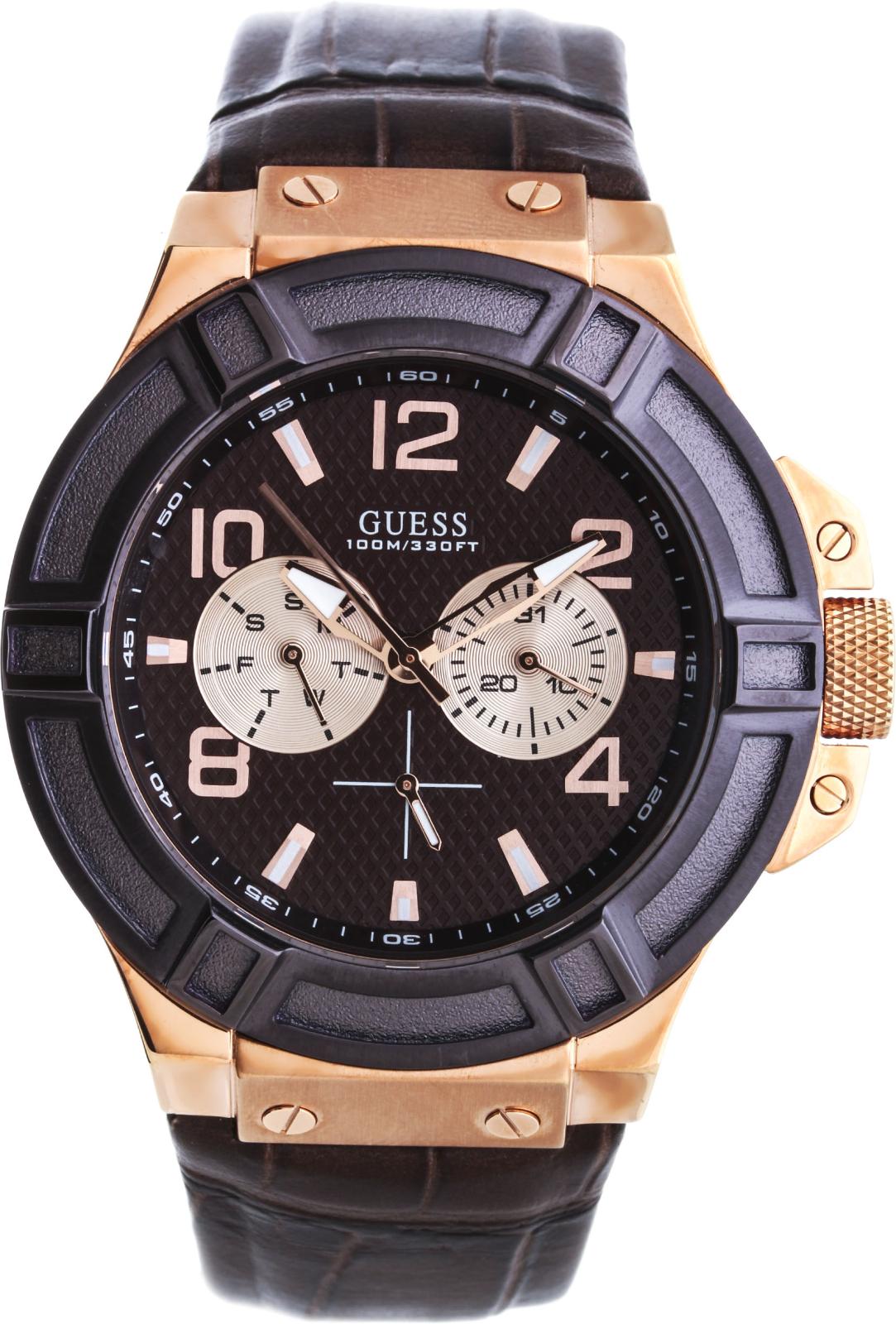 Guess  W0040G3Наручные часы<br>Американскиечасы Guess W0040G3Это модные мужские часы. Материал корпуса часов — сталь. В этой модели стоит минеральное стекло. Часы выдерживают давление на глубине 100 м. Цвет циферблата - коричневый. Циферблат часов содержит часы, минуты, секунды. В этой модели используются такие усложнения как дата, день недели, . Диаметр корпуса данной модели 45мм.<br><br>Пол: Мужские<br>Страна-производитель: США<br>Механизм: Кварцевый<br>Материал корпуса: Сталь<br>Материал ремня/браслета: Кожа<br>Водозащита, диапазон: None<br>Стекло: Минеральное<br>Толщина корпуса: 13<br>Стиль: Классика