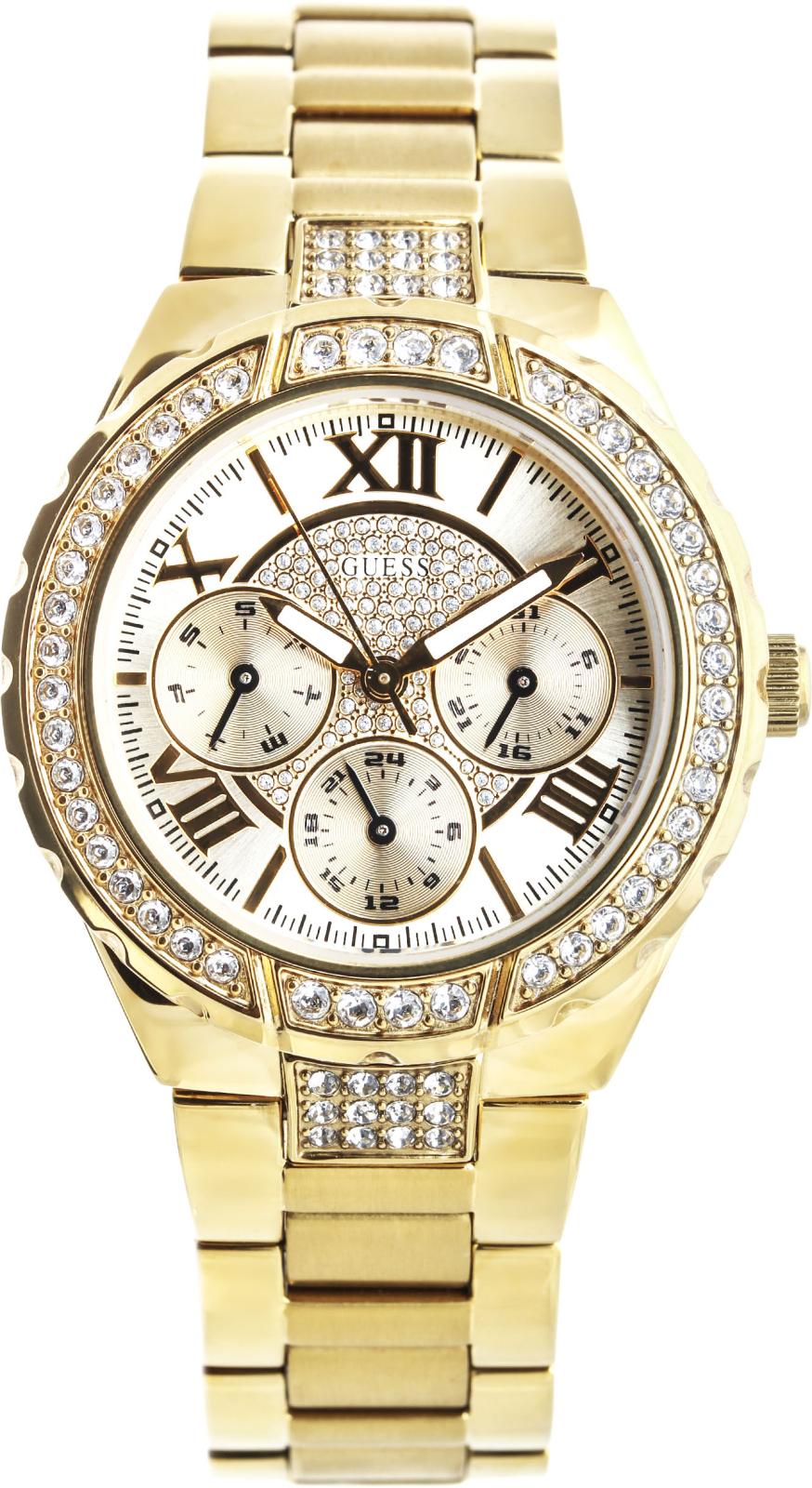 Guess W0111L2Наручные часы<br>Американскиечасы Guess W0111L2Это настоящие женские часы. Материал корпуса часов — сталь+золото. В этих часах используется минеральное стекло. Водозащита - 50 м. Основной цвет циферблата золотистый. Циферблат часов содержит часы, минуты, секунды. В этой модели используются такие усложнения как дата, день недели, . Диаметр корпуса данной модели 36мм.<br><br>Пол: Женские<br>Страна-производитель: США<br>Механизм: Кварцевый<br>Материал корпуса: Сталь<br>Материал ремня/браслета: Сталь<br>Водозащита, диапазон: None<br>Стекло: Минеральное<br>Толщина корпуса: 12<br>Стиль: Классика