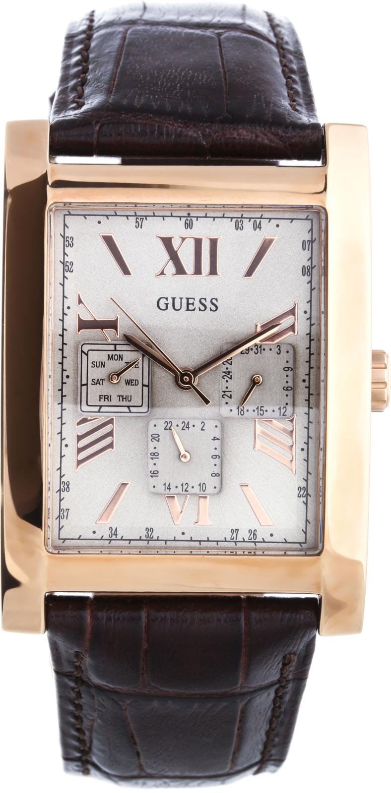 Guess W0370G3Наручные часы<br>Американскиечасы Guess W0370G3Это стильные мужские часы. Материал корпуса часов — сталь+золото. В этой модели стоит минеральное стекло. Водозащита этих часов 30 м. Основной цвет циферблата серебристый. Циферблат содержит часы, минуты, секунды. В данной модели используются следующие усложнения: дата, день недели, . Корпус часов в диаметре 33мм.<br><br>Пол: Мужские<br>Страна-производитель: США<br>Механизм: Кварцевый<br>Материал корпуса: Сталь<br>Материал ремня/браслета: Кожа<br>Водозащита, диапазон: None<br>Стекло: Минеральное<br>Толщина корпуса: 10<br>Стиль: Классика