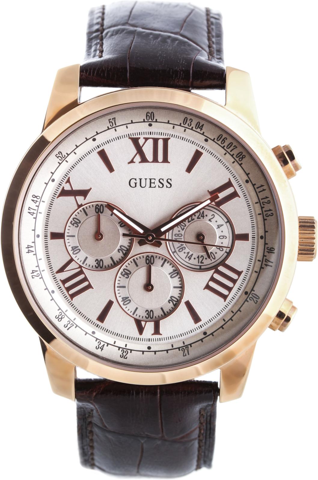 Guess W0380G4Наручные часы<br>Американскиечасы Guess W0380G4Это великолепные мужские часы. Материал корпуса часов — сталь. Циферблат часов защищает минеральное стекло. Водозащита - 50 м. Цвет циферблата - серебристый. Циферблат содержит часы, минуты, секунды. В этих часах используются такие усложнения как дата, день недели, хронограф. Размер данной модели 45мм.<br><br>Пол: Мужские<br>Страна-производитель: США<br>Механизм: Кварцевый<br>Материал корпуса: Сталь<br>Материал ремня/браслета: Кожа<br>Водозащита, диапазон: None<br>Стекло: Минеральное<br>Толщина корпуса: 12<br>Стиль: Спорт
