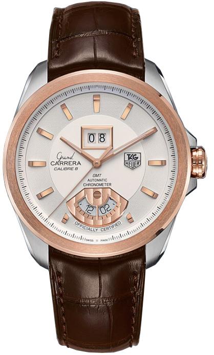 TAG Heuer WAV5152.FC6231Наручные часы<br>Швейцарские часы TAG Heuer Grand Carrera Calibre 8 RS Grand Date and GMTЧасы из коллекции GRAND CARRERA. Это стильные мужские часы,оснащенные эксклюзивной системой индикации Rotating System. Система отображения показаний Grand Carrera Rotating System, заменяет традиционные стрелки дисковыми указателями, выполненными в стиле индикаторов на приборной панеле автомобиля.В модели Grand CARRERA Calibre 8 система вращающихся дисков в положении «6 часов» обеспечивает индикацию времени второго часового пояса, в положении «12 часов» расположено большое окошко даты.Механизм — TAG Heuer Calibre 8 RS - хронометр C.O.S.C., механический с системой автоматического подзавода, 28800 полуколебаний в час, 21 камень, запас хода до 42 часов. Материал корпуса часов — нержавеющая сталь с безелем из розового золота 18K. Ремень — Кожа аллигатора. В этих часах используется сапфировое стекло. Водозащита - 100 м. Диаметр корпуса модели 42,5 мм.<br><br>Для кого?: Мужские<br>Страна-производитель: Швейцария<br>Механизм: Механический<br>Материал корпуса: Сталь+Золото<br>Материал ремня/браслета: Кожа<br>Водозащита, диапазон: 100 - 150 м<br>Стекло: Сапфировое<br>Толщина корпуса/: <br>Стиль/: