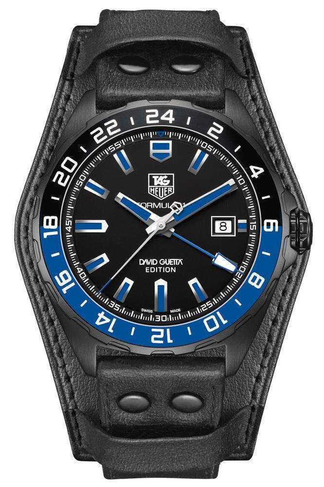 TAG Heuer WAZ201A.FC8195Наручные часы<br>Часы TAG Heuer FORMULA 1Calibre 7 GMT DAVID GUETTA SPECIAL EDITION WAZ201A.FC8195Часы из коллекции Formula 1. Спортивная мужская модель, окошко даты в положении 3 часа. Механизм — TAG Heuer Calibre 7 GMT, механический с системой автоматического подзавода, 28800 полуколебаний в час, 25 камней, запас хода до 42 часов, индикация второго часового пояса. Материал корпуса часов — сталь с черным титан-карбидным покрытием. Алюминиевый, вращающийся в обе стороны безель с 24-часовой разметкой. В этих часах используется сапфировое стекло. Водозащита - 200 м. Диаметр корпуса модели 43 мм.<br><br>Для кого?: Мужские<br>Страна-производитель: Швейцария<br>Механизм: Механический<br>Материал корпуса: Сталь<br>Материал ремня/браслета: Кожа<br>Водозащита, диапазон: 200 - 800 м<br>Стекло: Сапфировое<br>Толщина корпуса/: <br>Стиль: Мода