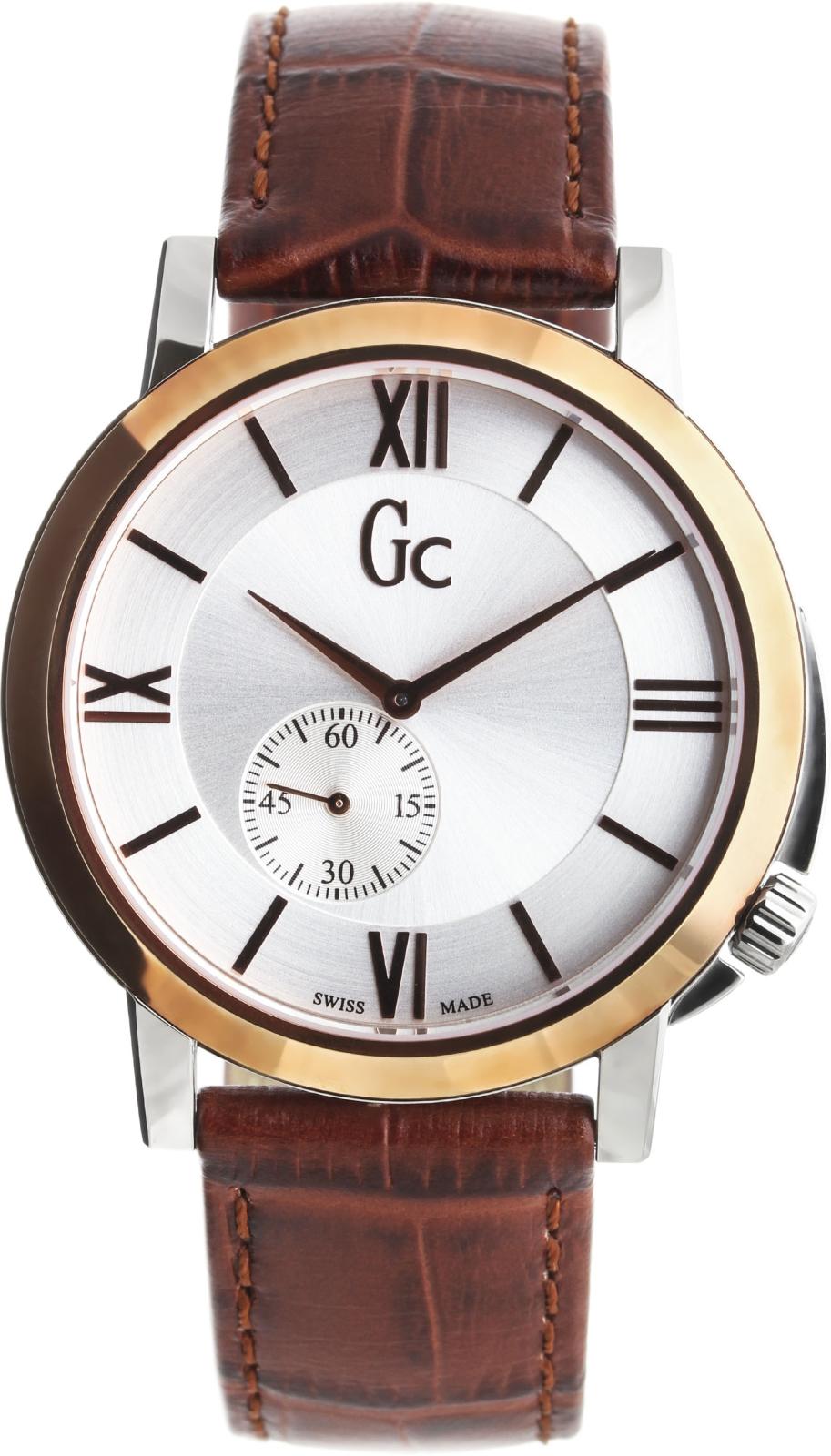 Gc Classic   X59001G1SНаручные часы<br>Швейцарские часы Gc Classic X59001G1SДанная модель входит в коллекцию Classic . Это мужские часы. Материал корпуса часов &amp;mdash; сталь+золото. Циферблат часов защищает сапфировое стекло. Водозащита этой модели 50 м.<br><br>Пол: Мужские<br>Страна-производитель: Швейцария<br>Механизм: Кварцевый<br>Материал корпуса: Сталь+Золото<br>Материал ремня/браслета: Кожа<br>Водозащита, диапазон: 20 - 100 м<br>Стекло: Сапфировое<br>Толщина корпуса: None<br>Стиль: None