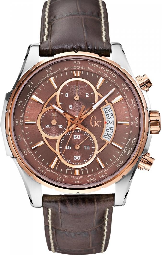 Gc Technoclass X81002G4SНаручные часы<br>Швейцарские часы Gc Technoclass X81002G4SМодель входит в коллекцию Technoclass. Это модные мужские часы. Материал корпуса часов &amp;mdash; сталь+золото. Стекло - сапфировое. Часы выдерживают давление на глубине 100 м. Цвет циферблата - коричневый. Циферблат содержит часы, минуты, секунды. В этой модели используются такие усложнения как дата, хронограф. Часы обладают корпусом 44мм.<br><br>Пол: Мужские<br>Страна-производитель: Швейцария<br>Механизм: Кварцевый<br>Материал корпуса: Сталь+Золото<br>Материал ремня/браслета: Кожа<br>Водозащита, диапазон: 100 - 150 м<br>Стекло: Сапфировое<br>Толщина корпуса: None<br>Стиль: Классика