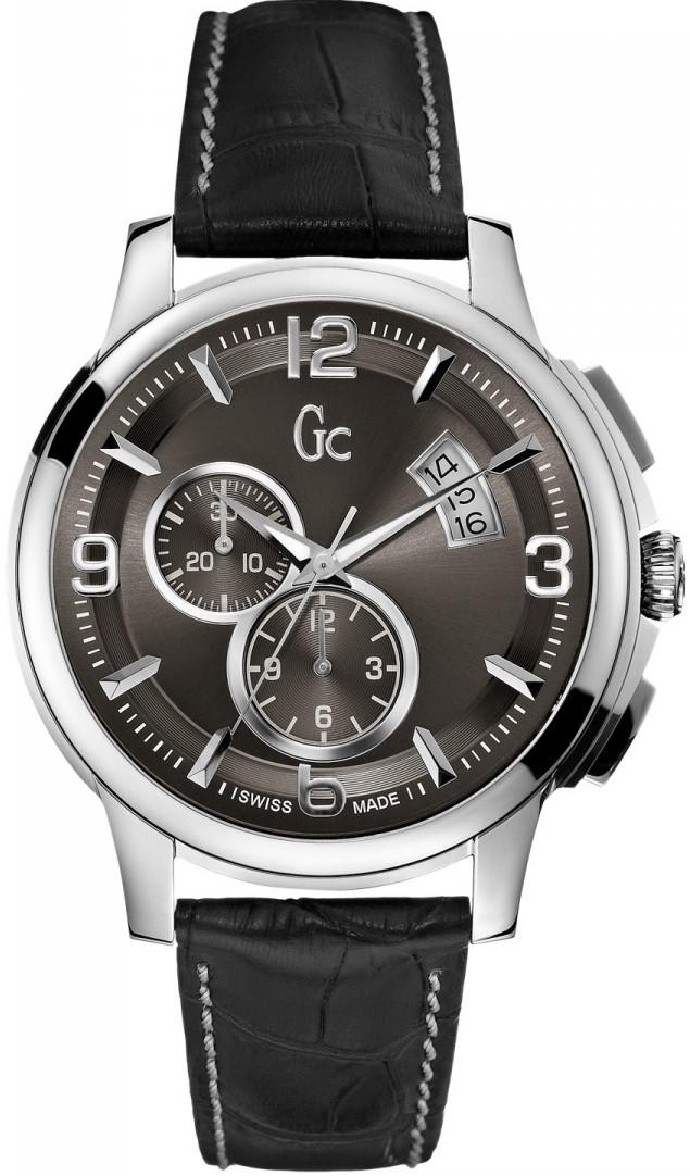 Gc Sport Class  X83004G5SНаручные часы<br>Швейцарские часы Gc Sport Class X83004G5SМодель входит в коллекцию Sport Class . Это настоящие мужские часы. Материал корпуса часов &amp;mdash; сталь. Циферблат часов защищает сапфировое стекло. Часы этой модели обладают водозащитой 100 м. Основной цвет циферблата черный. Циферблат модели содержит часы, минуты, секунды. В этой модели используются такие усложнения как хронограф. Диаметр корпуса данной модели 43мм.<br><br>Пол: Мужские<br>Страна-производитель: Швейцария<br>Механизм: Кварцевый<br>Материал корпуса: Сталь<br>Материал ремня/браслета: Кожа<br>Водозащита, диапазон: 100 - 150 м<br>Стекло: Сапфировое<br>Толщина корпуса: None<br>Стиль: None