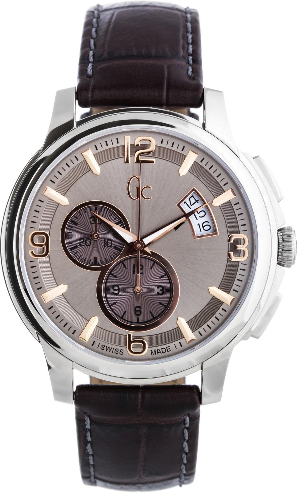 GC Sport Chic X83009G1SНаручные часы<br>Швейцарские часы GC Sport Chic X83009G1S<br><br>Пол: Мужские<br>Страна-производитель: Швейцария<br>Механизм: Кварцевый<br>Материал корпуса: Сталь<br>Материал ремня/браслета: Кожа<br>Водозащита, диапазон: 100 - 150 м<br>Стекло: Сапфировое<br>Толщина корпуса: 11 мм<br>Стиль: Спорт