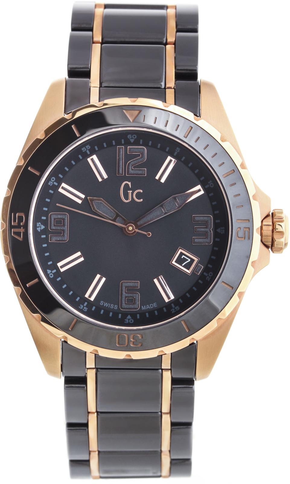 GC Sport Chic X85011G2SНаручные часы<br>Швейцарские часы GC Sport Chic X85011G2S<br><br>Для кого?: Мужские<br>Страна-производитель: Швейцария<br>Механизм: Кварцевый<br>Материал корпуса: Золото+сталь<br>Материал ремня/браслета: Сталь+керамика<br>Водозащита, диапазон: 100 - 150 м<br>Стекло: Сапфировое<br>Толщина корпуса/: <br>Стиль: Классика