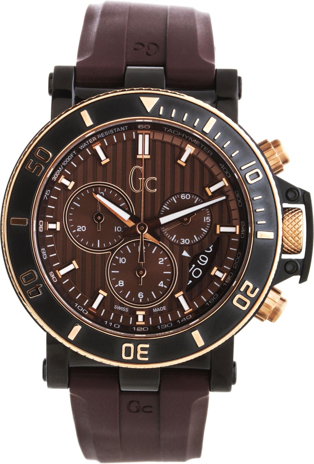 GC Sport Chic X95004G4SНаручные часы<br>Швейцарские часы GC Sport Chic X95004G4S<br><br>Пол: Мужские<br>Страна-производитель: Швейцария<br>Механизм: Кварцевый<br>Материал корпуса: Сталь<br>Материал ремня/браслета: Каучук<br>Водозащита, диапазон: 200 - 800 м<br>Стекло: Сапфировое<br>Толщина корпуса: 13 мм<br>Стиль: Спорт